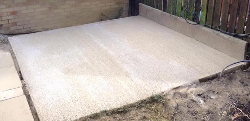 Concrete shed base installation